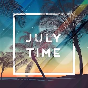 Czas letni szablon projektu banera strony z sylwetkami drzew palmowych. nowoczesny styl. ilustracji wektorowych