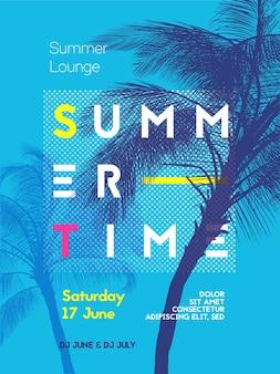 Czas letni szablon projektu plakatu strony z sylwetkami palm. nowoczesny styl. ilustracji wektorowych