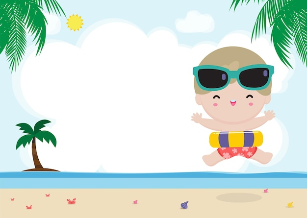 Czas letni. szczęśliwe dziecko w strojach do pływania z dmuchanymi zabawkami na plaży