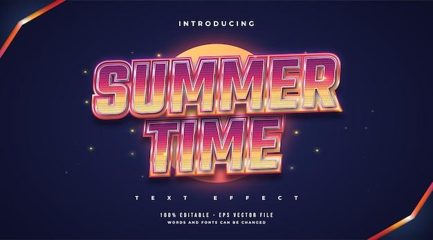Czas letni tekst w kolorowym stylu retro. edytowalny efekt tekstowy