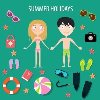 Czas letni.wakacje. szczęśliwa para. zestaw ikon. ilustracja wektorowa