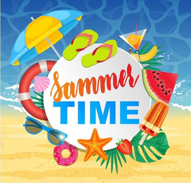 Czas letni z białym kółkiem na tekst i kolorowe elementy plaży na białym tle. projekt banera. ilustracja.
