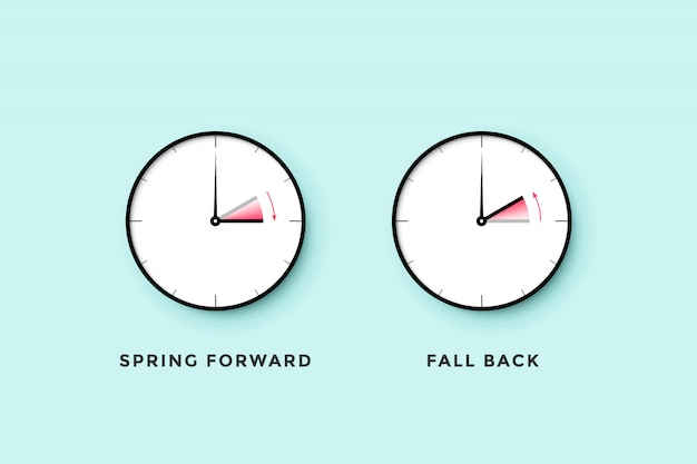 Czas letni. zestaw zegara dla wiosny do przodu, jesieni z powrotem, czasu letniego