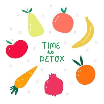Czas na detokskolorowa ilustracja wektorowa z letnimi owocamikoncepcja zdrowej żywności i stylu życia