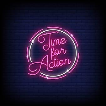 Czas na działanie tekst w stylu neony