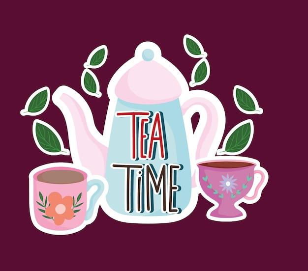 Czas na herbatę czajnik i filiżanki liści mięty natura ziołowa ilustracja