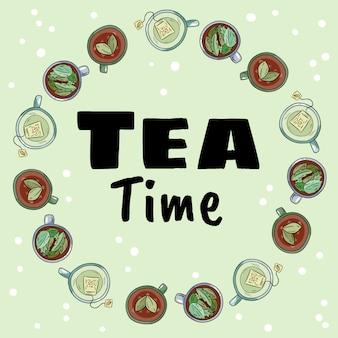 Czas na herbatę. dekoracyjny wieniec z filiżanek zielonej i ziołowej herbaty