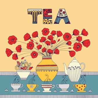 Czas na herbatę. ilustracja wektorowa z filiżankami, czajnikiem, cukierkami i kwiatami w wazonie.
