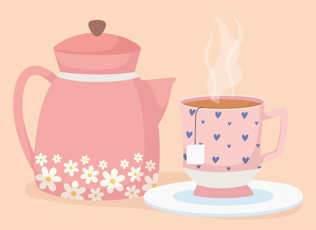 Czas na herbatę, ozdobny w filiżance i świeży napój do czajnika