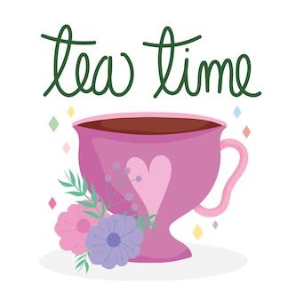 Czas na herbatę różowy kubek z dekoracją serca i kwiatów, ceramiczne naczynia kuchenne, ilustracja kreskówka kwiatowy wzór