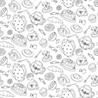 Czas na herbatę wzór z ręcznie rysowane doodle elementów.