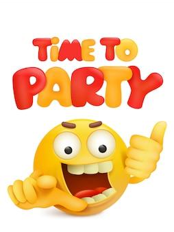 Czas na imprezę, karta zaproszenie z charakterem twarzy kreskówki
