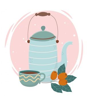 Czas na kawę, czajnik na kawę i nasiona świeżego napoju aromatycznego