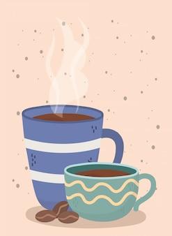 Czas na kawę, filiżanki i nasiona świeży aromat napoju