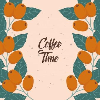 Czas na kawę, gałąź nasion pozostawia napis świeżego napoju