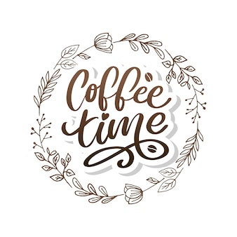 Czas na kawę hipster vintage stylizowane napis. ilustracja