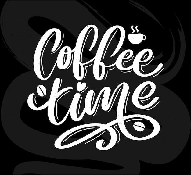 Czas na kawę hipster vintage stylizowane napis.