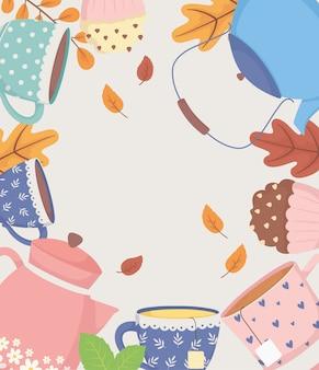 Czas na kawę i herbatę, czajniki i filiżanki, słodka babeczka i liście dekoracji plakat