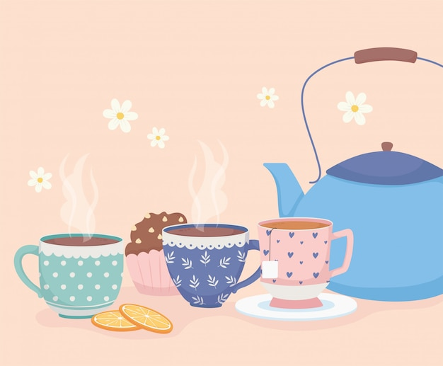 Czas na kawę i herbatę, niebieskie kubki z czajnikiem i słodki deser z babeczkami