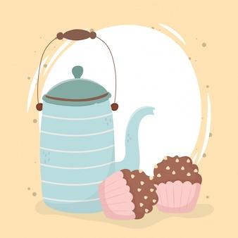 Czas na kawę, pyszne babeczki czajnik świeży napój aromat