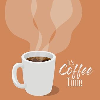 Czas na kawę z motywem kubka z kofeiną, śniadaniem i motywem napoju.
