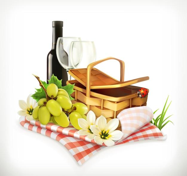 Czas na piknik, przyroda, rekreacja na świeżym powietrzu, obrus i kosz piknikowy, kieliszki do wina i winogrona, ilustracja przedstawiająca lato