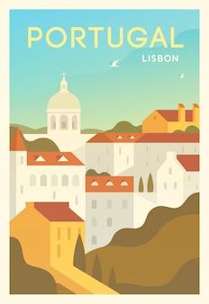 Czas na podróż. dookoła świata. plakat jakości. lizbona.