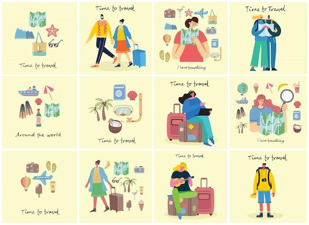 Czas na podróż. ilustracja z odosobnionymi młodymi ludźmi podróżującymi w różnych działaniach z bagażem i sprzętem turystycznym w nowoczesnej płaskiej konstrukcji