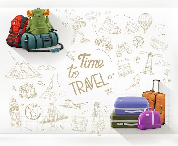 Czas na podróż. infografiki podróży i turystyki pieszej