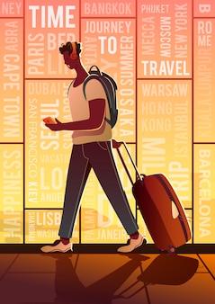 Czas na podróż. letni wypoczynek. podróżnik na lotnisku. dookoła świata.