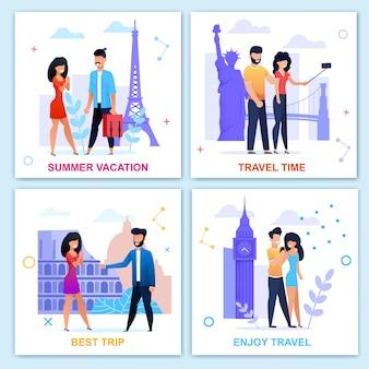 Czas na podróż w lecie motywacyjny zestaw płaskich kart. wakacje i wypoczynek. podróż do europy. kreskówka wektor osób odwiedzających zabytki, biorąc selfie, chodzenie, spotkanie, uzyskiwanie zaangażowanych ilustracji