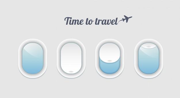 Czas na podróż z realistycznymi iluminatorami. wektor okna samolotu wewnątrz widoku. szablon otwartego i zamkniętego okna statku powietrznego.