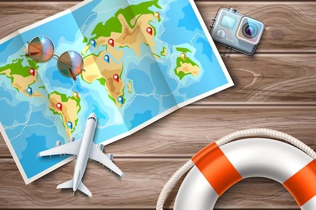 Czas na podróżowanie wycieczki online zaprojektuj szpilki ze wskaźnikiem celu złożoną mapę świata przy stole z samolotem
