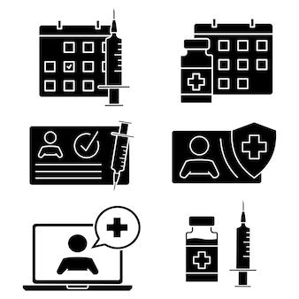 Czas na szczepienie ikon karta medyczna strzykawka kalendarz fiolka lekarz online i inne ikony