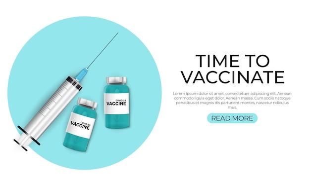 Czas na szczepienie koncepcji. koncepcja szczepień przeciwko koronawirusowi.
