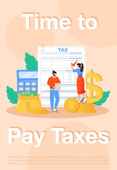 Czas na zapłacenie podatków plakat płaski szablon. zapłata rachunków za media, broszura podatkowa, broszura, jedna strona, koncepcja z postaciami z kreskówek. regularne wydatki, ulotka dotycząca zobowiązań prawnych, ulotka