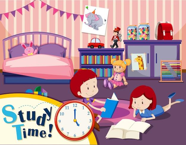Czas Nauki Chłopiec I Dziewczynka Premium Wektorów