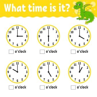 Czas nauki na zegarze arkusz ćwiczeń edukacyjnych dla dzieci i niemowląt