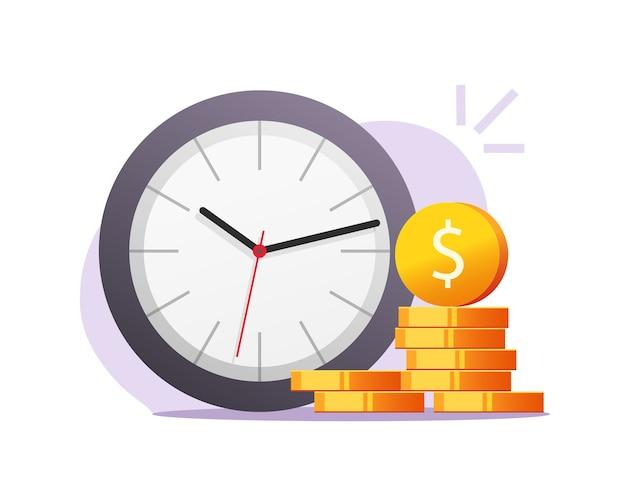 Czas, pieniądze, inflacja, pojęcie, wektor, clipart, płaski, rysunek, ilustracja
