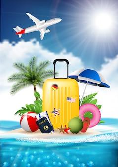 Czas podróżować lato plaża wakacje wakacje realistyczny projekt wektor ilustracja koncepcja. walizka bagażowa, znaki na bilety, wyspa otoczona, morze, plaża, parasol