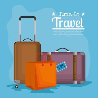 Czas podróżować walizki wektor ilustracja projektu