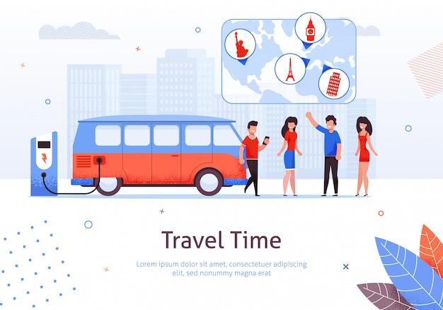 Czas podróży mężczyzna i kobieta przyjaciel minivan road trip