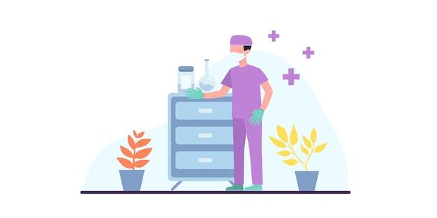 Czas się zaszczepić. covid19. koronawirus. walka z wirusem. lekarz tłumaczy szczepionkę ze strzykawki wirusowi. ilustracja do publikacji medycznych. medycyna zapobiegawcza. baner internetowy