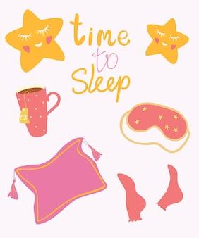 Czas spać. przedmioty do spania. dobranoc śpij mocno karty.