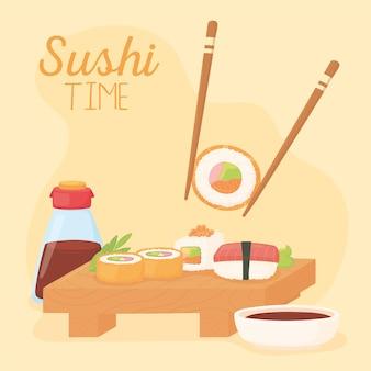 Czas sushi, pałeczki z sosem sojowym i różnymi ilustracjami rolek