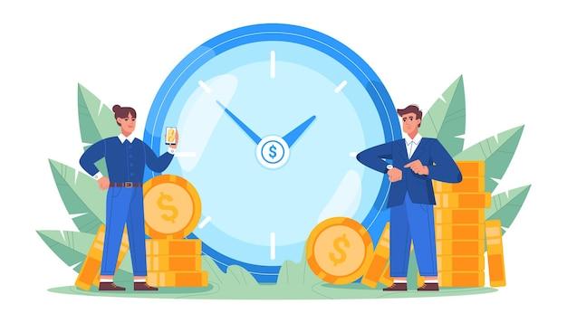 Czas to pieniądz. inwestycje finansowe w przyszłość giełdy i marketingowe planowanie wzrostu pieniędzy z dużym zegarem, złotymi monetami i ludźmi biznesu. oszczędzaj czas koncepcja w ilustracji wektorowych płaski.
