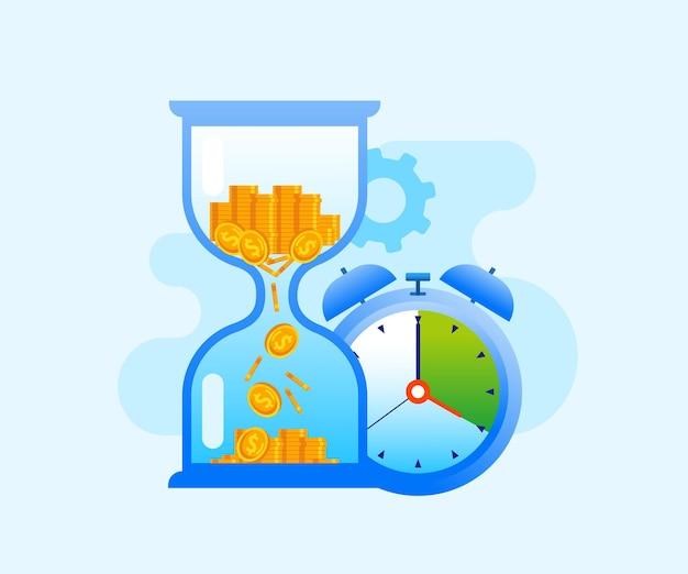 Czas to pieniądz koncepcja klepsydry płaski wektor ilustracja baner i strona docelowa