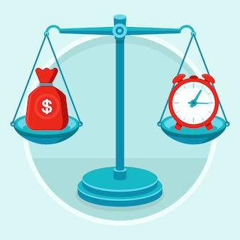 Czas to pieniądz - koncepcja wektor w stylu płaskiej