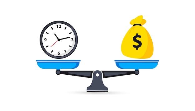 Czas to pieniądz na wadze. bilans pieniędzy i czasu na skali. zegar i symbole worek pieniędzy na skali. waga. miski wagi w równowadze. czas to pieniądz koncepcja biznesowa