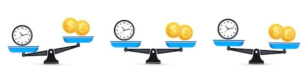 Czas to pieniądz na wadze. zestaw wag. pieniądze i czas równoważą nierównowagę wagi. symbole zegara i pieniędzy na skali. waga. czas to pieniądz koncepcja biznesowa